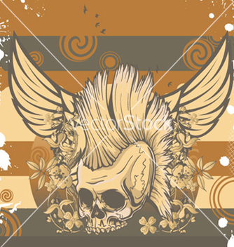 Free skull with grunge background vector - Kostenloses vector #259673