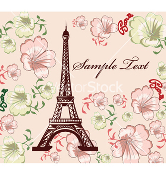 Free eiffel tower with floral vector - vector gratuit #259843