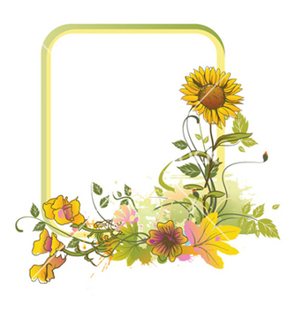 Free colorful floral frame vector - Kostenloses vector #260023