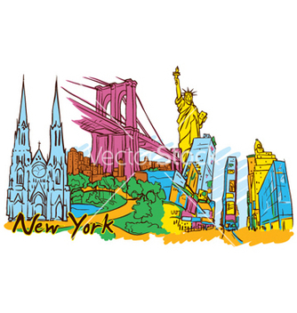 Free new york doodles vector - vector gratuit #260283