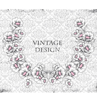Free grunge damask background with floral frame vector - Free vector #260753