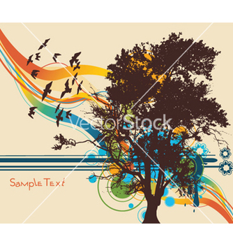 Free tree with colorful background vector - vector gratuit(e) #260863