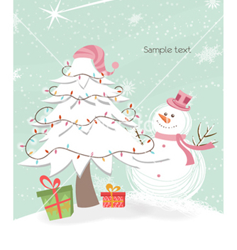 Free snowman with tree vector - Free vector #261473