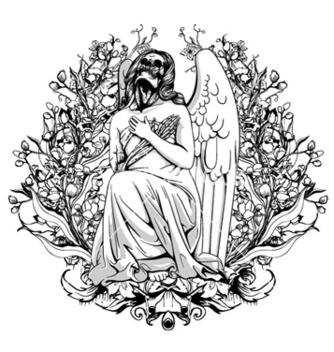 Free dark angel with floral vector - Kostenloses vector #263573