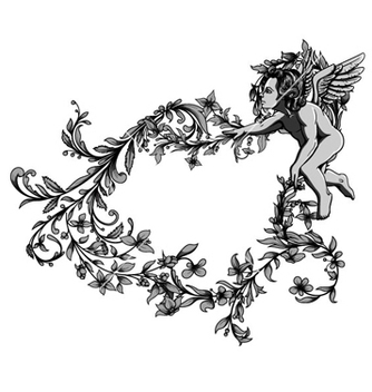 Free angel with floral frame vector - Free vector #263693