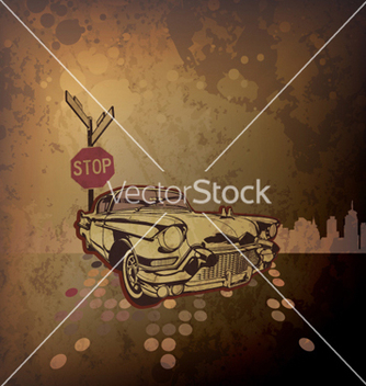 Free old car with grunge background vector - Kostenloses vector #265773