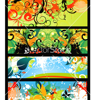 Free vintage floral banners set vector - Free vector #265993