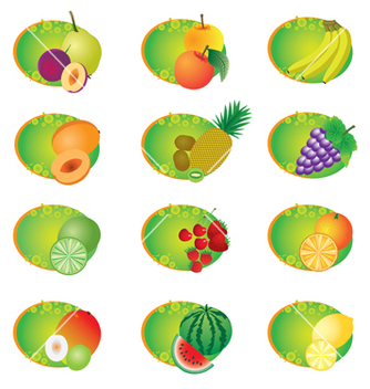 Free icons with fruits vector - бесплатный vector #266743