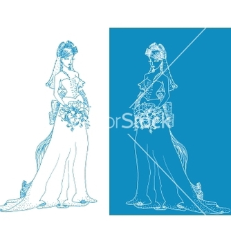 Free ornate bride silhouette hand drawing with bow vector - vector gratuit(e) #266813