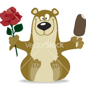 Free smiling bear with red rose vector - vector gratuit #267183