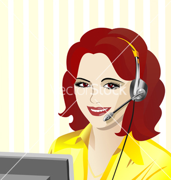 Free young beautiful girl telephone operator vector - vector gratuit(e) #267723