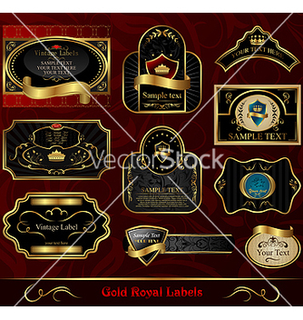Free set black gold framed label vector - Free vector #267733