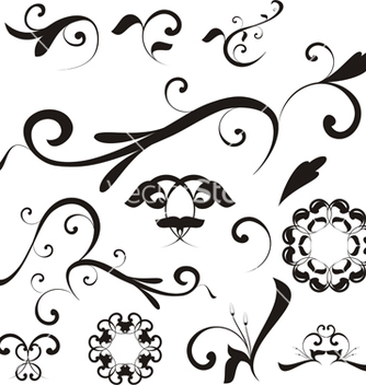 Free floral shapes and ornaments vector - Free vector #270173