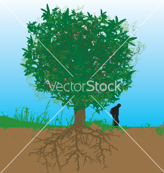 Free tree and roots vector - vector #271023 gratis