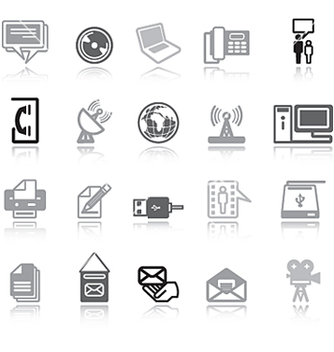 Free communication icons grey vector - Free vector #271463