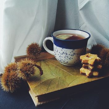 Tea, cookies and prickly fruit on book - image #272223 gratis