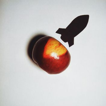 Apple and silhouette of a rocket on white background - Kostenloses image #272233