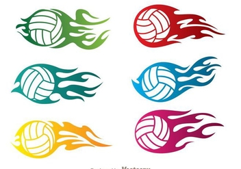 Volleyball In Flame Vectors - Free vector #272463