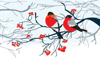 Card with Birds on Branch - vector gratuit #272733