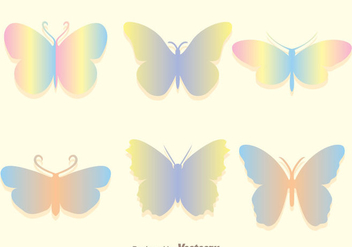 Soft Rainbow Butterfly Icons Set - Free vector #272753