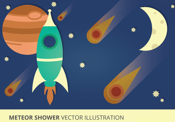 Meteor Shower Vector Illustration - vector gratuit #274013