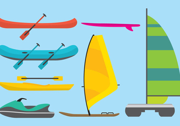Catamarans, Boards And Raft Vectors - vector gratuit #274163
