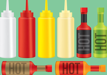 Sauce And Condiment Bottles - Free vector #274173