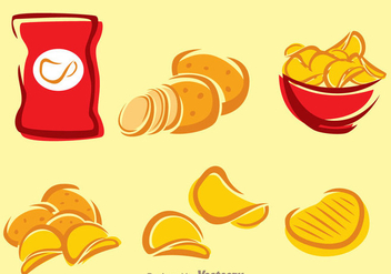 Potato Chips Icons - vector #275143 gratis