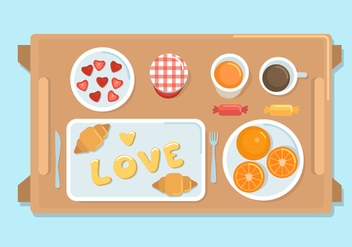 Breakfast in bed vector - Free vector #275173