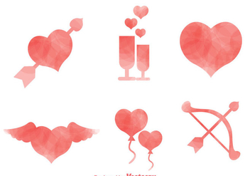 Love Watercolor Icons - Free vector #275233