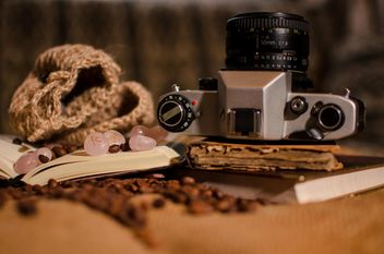 Old camera, books, runes and coffee beans - бесплатный image #275323