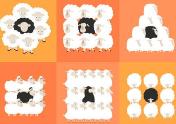 Black Sheep Herd - vector gratuit #297643