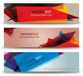 Abstract Crystallized Colorful Banner Set - Free vector #298063