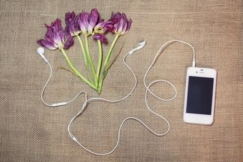 Tulips and smartphone with earphones on burlap background - бесплатный image #301363