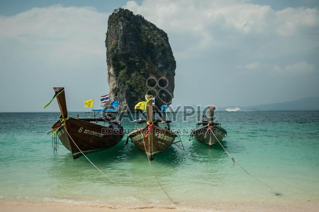fishing boats moored on the coast - Free image #301673
