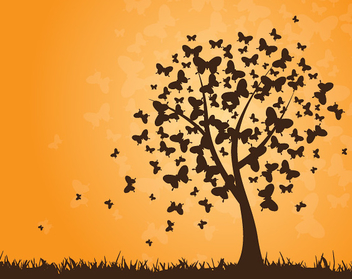 Butterflies Tree Sunset Background - vector gratuit #301853