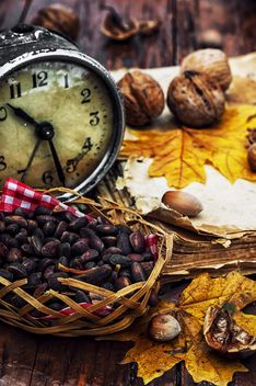 Walnuts, alarm clock and autumn leaves on the table - бесплатный image #302003