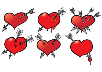Hand Drawn Arrow Through Heart Vectors - Free vector #302423