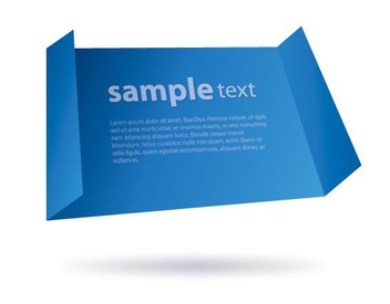 Flying Folded Edge Blue Banner - vector gratuit #302483