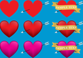 Hearts With Ribbons - Free vector #302613