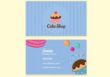 Blue Bake Shop Business Card Vector - бесплатный vector #302703