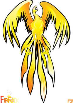Yellow Abstract Phoenix Bird - Free vector #302743