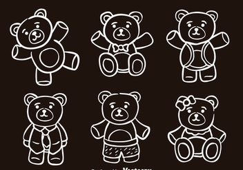 Teddy Bear Sketch Vector Icons - vector gratuit #302983