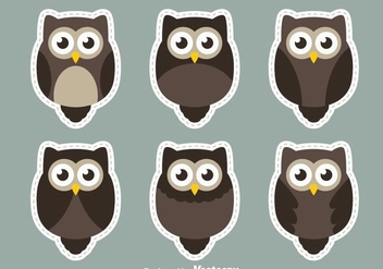 Owl Sticker Vectors - Free vector #302993