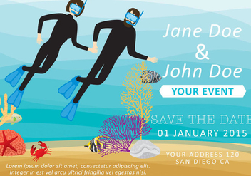 Couple Snorkeling Invitation - vector gratuit #303403
