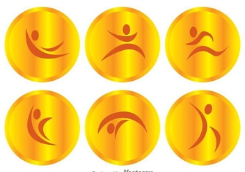 Vector Gold Gymnast Icons - Free vector #303553