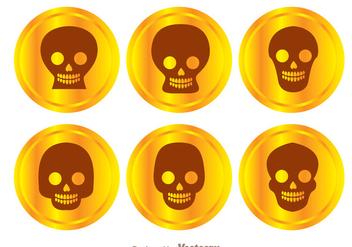 Gold Coin Skull Vectors - Kostenloses vector #303663