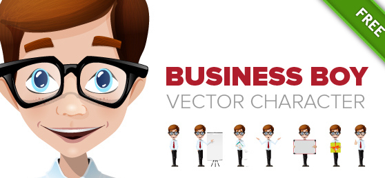 Business Boy Vector Character - Free vector #303683