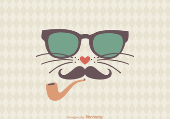 Free Hipster Cat Vector Illustration - Free vector #303883
