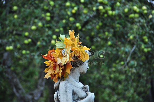 a wreath of maple leaves on the statue - Free image #303993